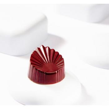 Polycarbonate Chocolate Pleated Leaf Mold - 33.5mmx30.5mmx19mm - 12gr - 3x7 cavity - 275x135x24mm
