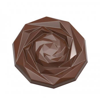Polycarbonate Chocolate Caraque Rose Mold by DAVIDE COMASCHI - 45mm x 7.5mm - 9.5gr - 2x5 cavity - 275x135x24mm