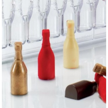 Polycarbonate SMALL BOTTLE Praline Chocolate Mold - 60.2x60.6x15.8mm cavities - 12gr - 18pcs