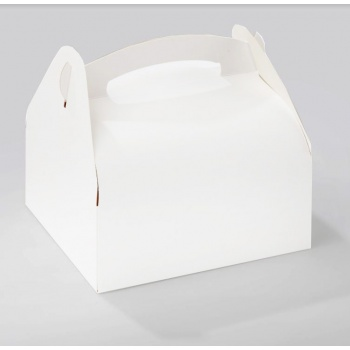 White Pastry Box with Handles - 18cm x 16cm - Pack of 50