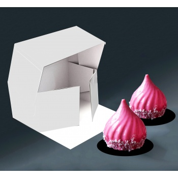 Deluxe Cake Entremets Pastry Boxes - Matte White - 21 x 11 x 10 cm - Pack of 50