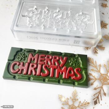 Polycarbonate Merry Christmas Tablet Chocolate Bar - 118x50x8mm - 45gr - 1x4 cavity - 275x135x24mm