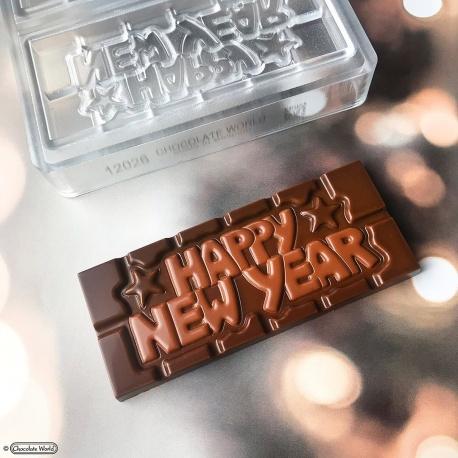 Polycarbonate Happy New year Tablet Chocolate Bar - 118x50x8mm - 45gr - 1x4 cavity - 275x135x24mm