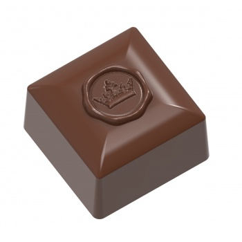 Polycarbonate Square Praline chocolate mold with royalty stamp - 26x26x17.5mm - 12gr - 3x8 cavity layout 275x135x24mm