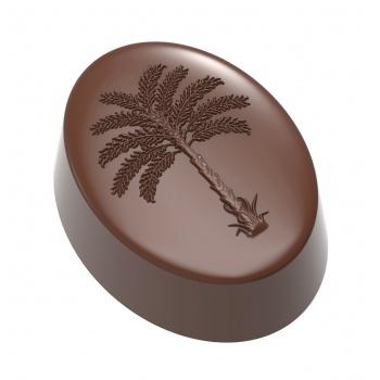 Polycarbonate Praline chocolate mold with Palm Tree - 35x26.5x14.5mm - 11.5gr - 3x7 cavity layout 275x135x24mm