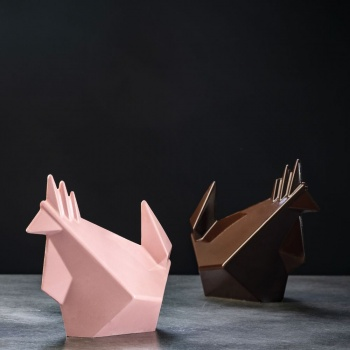 Pavoni Thermoformed Rocky Roger Origami Chicken Mold - Ø 145 x 95 × 180 mm - Weight ~ 170 g  - 2 kit / box