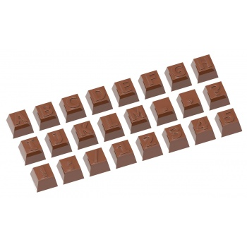Polycarbonate Chocolate Mold Alphabet - Part 1 - 24 Figures - 26x26x18mm - 12gr - 3x8 cavity layout