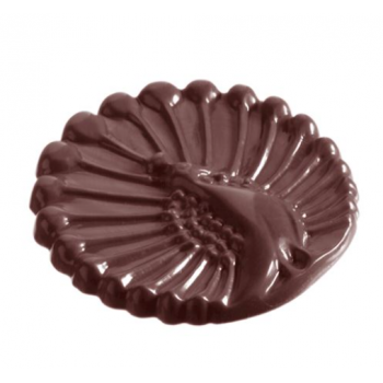 Polycarbonate Chocolate Mold Peacock Caraque - 51x51x5mm - 8g - 2x5 cavity layout - 275x135x24mm