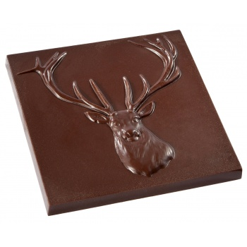 Polycarbonate Chocolate Tablet Mold - Deer - 85x85x9.5mm - 55gr - 1 x 2 cavity