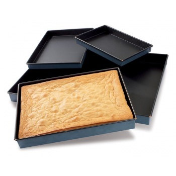 "Matfer Bourgeat Steel Non-Stick Sponge Cake Pan - L: 13 3/4"" – W: 9 7/8"" – H: 1 3/8"""