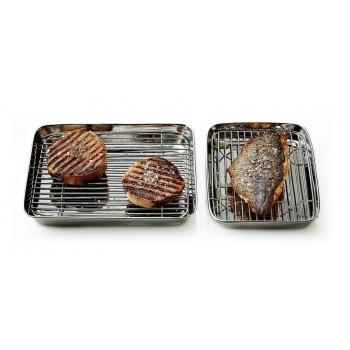 Matfer Bourgeat Stainless Tray + Grid - 9 1/4″, 7 1/2″, 1 3/8″