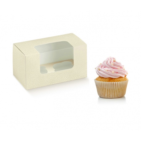 Deluxe Pearl Leather Cupcake Boxes with Insert - 2 Cupcakes - 180 x 90 x 100 - Pack of 50