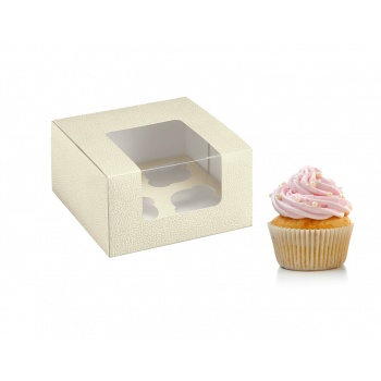 Deluxe Pearl Leather Cupcake Boxes with Insert - 4 Cupcakes - 180 x 18 x 100 - Pack of 50
