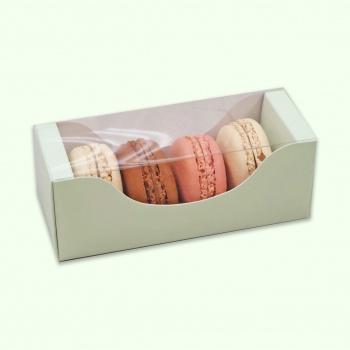 Deluxe Bi Frame Macaron Box - 4 Macarons - Light Pastel Green - Pack of 50