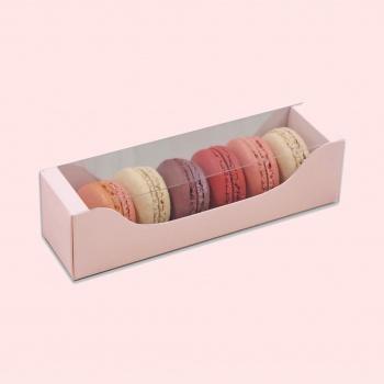 Deluxe Bi Frame Macaron Box - 6 Macarons - Pink Pastel - Pack of 80