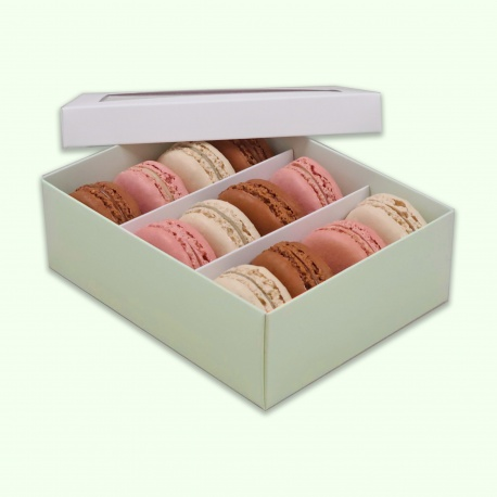 Deluxe Window Box for Macarons - 12 Macarons - White Top Green Base - Pack of 36 Boxes