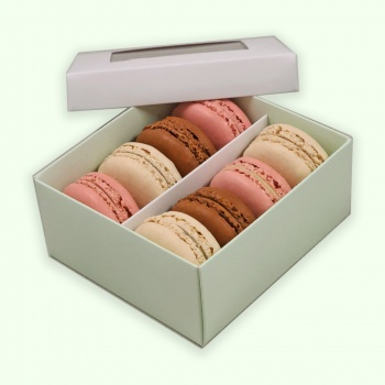 Deluxe Window Box for Macarons - 8 Macarons - White Top Green Base - Pack of 36 Boxes