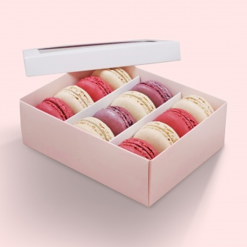 Deluxe Window Box for Macarons - 12 Macarons - White Top Pink Base - Pack of 36 Boxes