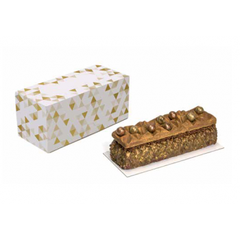 Deluxe White Yule Log Cake Entremets Pastry Boxes - Gold Marbled - 30 x 11 x 11 cm - Pack of 25