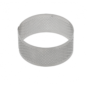 Stainless Steel Perforated Circle Tart Ring - 6 dia x 3.5cm high