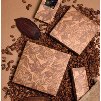 Deluxe Cocoa Beans Closed Frame with Clear Plastic Insert Chocolate Candy Boxes - Holds 9 Chocolates - Pack of 48
