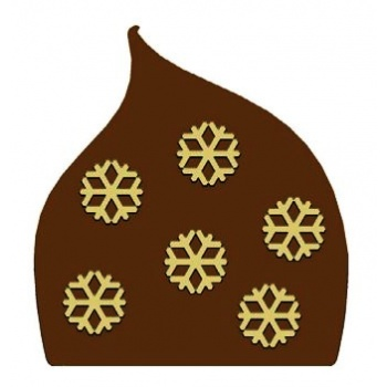 Yule Log Decoration - Small Snowflakes - 80 x 87 x 5 mm 22g - set of 10 plates 6 impressions per plate