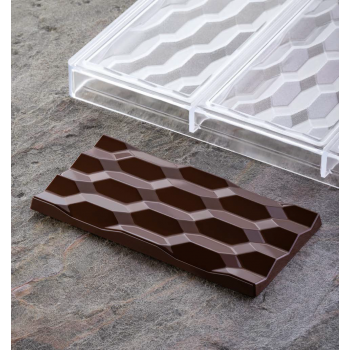 Polycarbonate Chocolate Bar Mold Hexa by Vincent Vallée - 154x77x10 - 100g - 3 indents