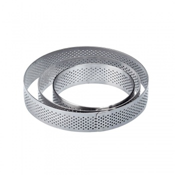 Microperforated Stainless Steel Round Tart Rings Height: 2cm Diam: 5cm