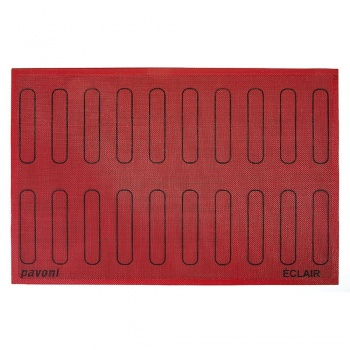 Pavoni Italia micro perforated Eclair mat - 125 x 25mm - 20 eclair outlines - 600x400mm mat