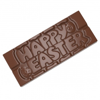 Polycarbonate Happy Easter Chocolate Tablet Mold - 118x50x8mm - 45gr - 1 x 4 cavity