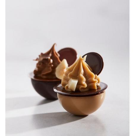 Polycarbonate Flattened Sphere Chocolate Mold by Martin Diez - 30x30x14.5mm - 8.5gr 3 x 8 cavity