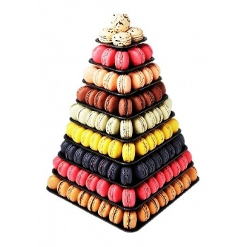 Macarons Pyramid Display - Holds 210 Macarons - Black