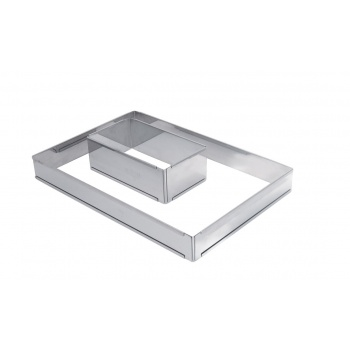 De Buyer Stainless Steel Adjustable Pastry Frame -Rectangle - 8 1/2''x4 1/2''x3'' To 15 3/4''x 8 1/4''