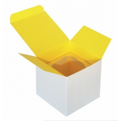 1 Piece Cupcake Box With Yellow Insert 3.4'' x 3.4'' x 3.4''  Ø 2.3' '' x 100 Pieces