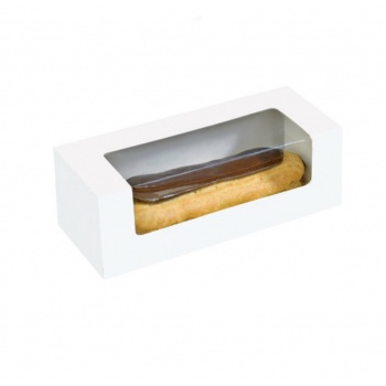 "Cardboard Window Box for Eclair, Macaron & Hotdog 5.90 x 1.96 x 1.96"" - 250pcs"