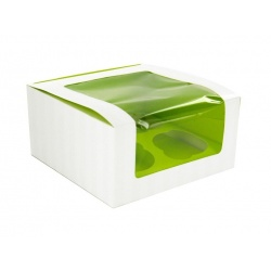 "Green Cupcake Box With Window (4 pieces) - 6.7 x 6.7 x 3.3"" - 100pcs"