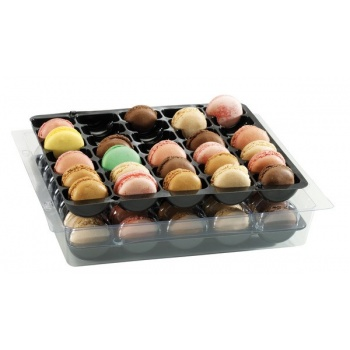 Plastic Thermoformed Macarons Storage Trays for 35 Macarons - 25 Sets (25 Bottoms and 25 Tops)