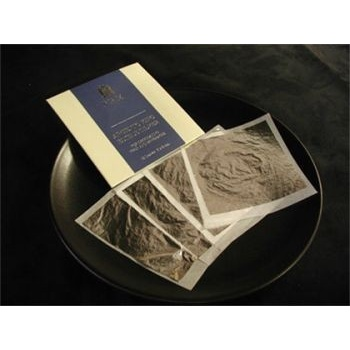 "Silver Leaf (Edible) 25 leaves booklet 3 3/8"" x 3 3/8"" (85mm x 85mm)"