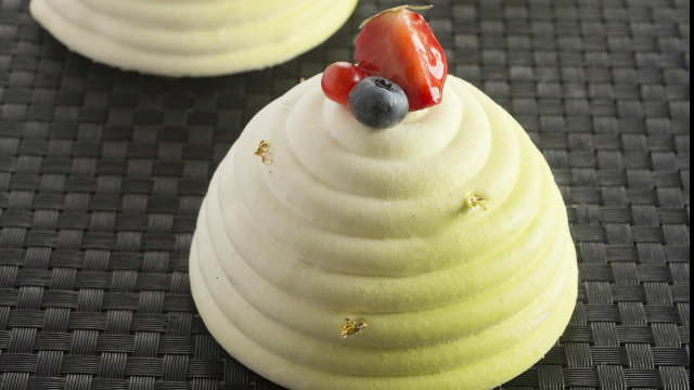 Lemon Basil & Strawberry Meringue Dome by Stephane Glacier